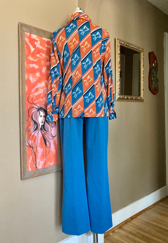 Vintage 70s Novelty Print Horse Two Piece Ladies … - image 10