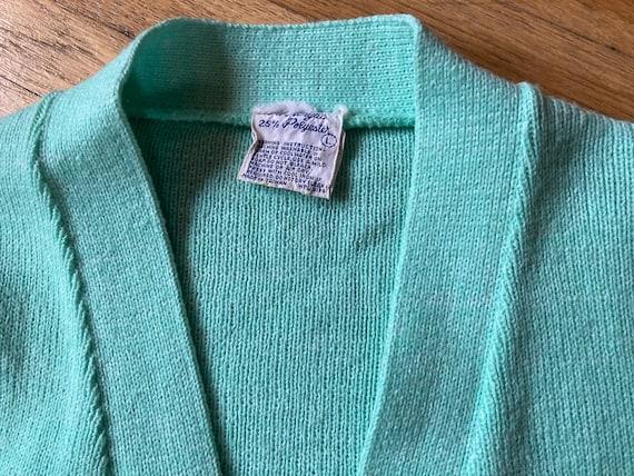 Vintage 70s Mint Green Short Sleeved Cardigan / V… - image 6