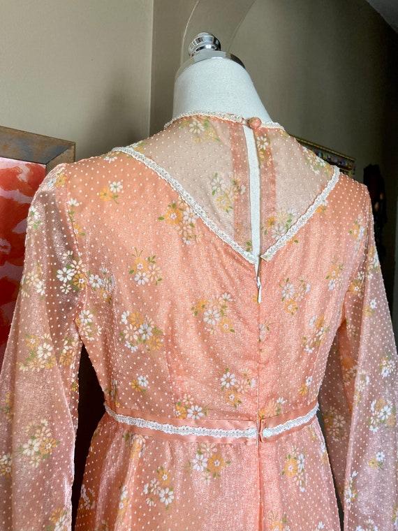 Vintage 60s Dreamy Floral Peach Formal Maxi Dress… - image 5