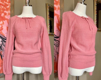 Vintage 70s Mauve Pullover Sweater / 70s Pink Pullover Sweater / 70s Midge Sweater Vintage Pink Pullover Sweater