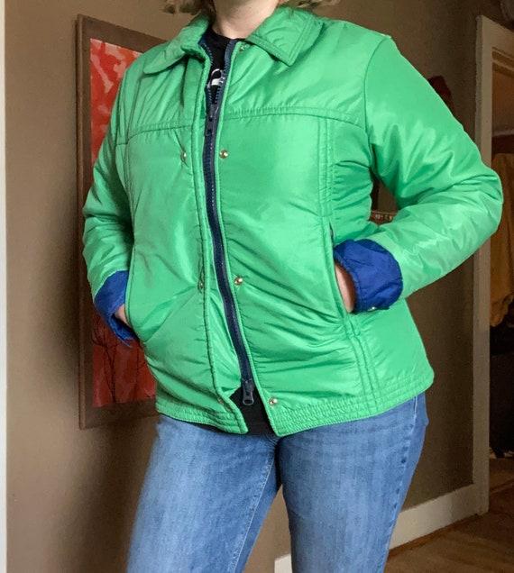 Vintage 70s Green Ski Jacket / 1970s Blue Ski Coat