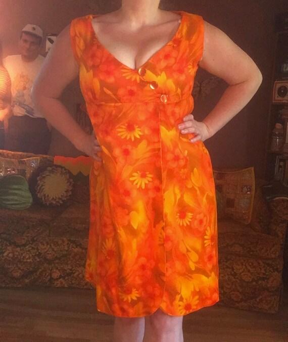 Vintage 60s Hot Orange Floral Dress / 60s Orange H