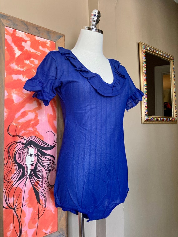 DEADSTOCK Vintage 70s Sheer Striped Bodysuit / 70… - image 5
