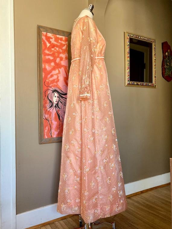 Vintage 60s Dreamy Floral Peach Formal Maxi Dress… - image 8
