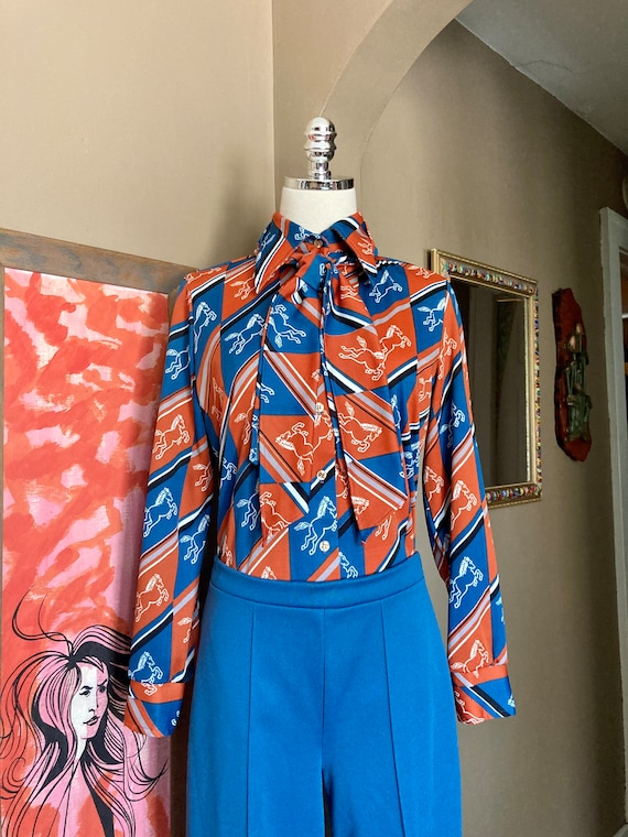 Vintage 70s Novelty Print Horse Two Piece Ladies … - image 3
