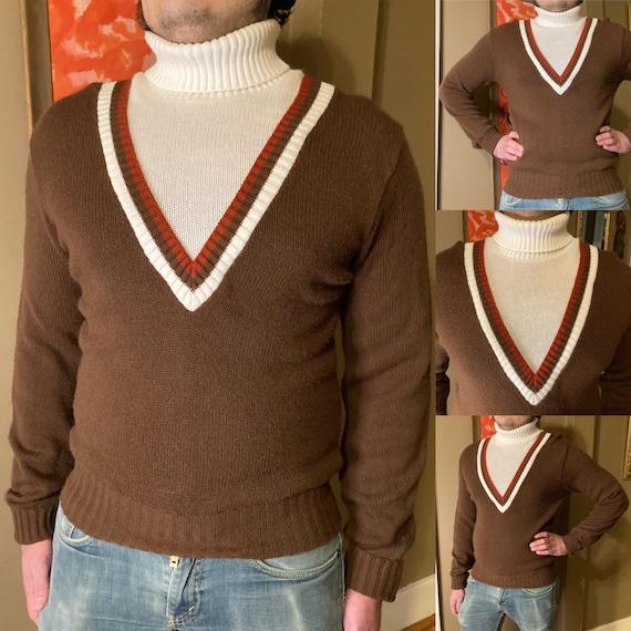 Vintage 60s Beeline Fashions Brown Turtleneck Swea
