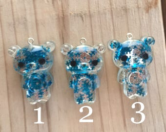 winter collection blue snow flake bear keychain