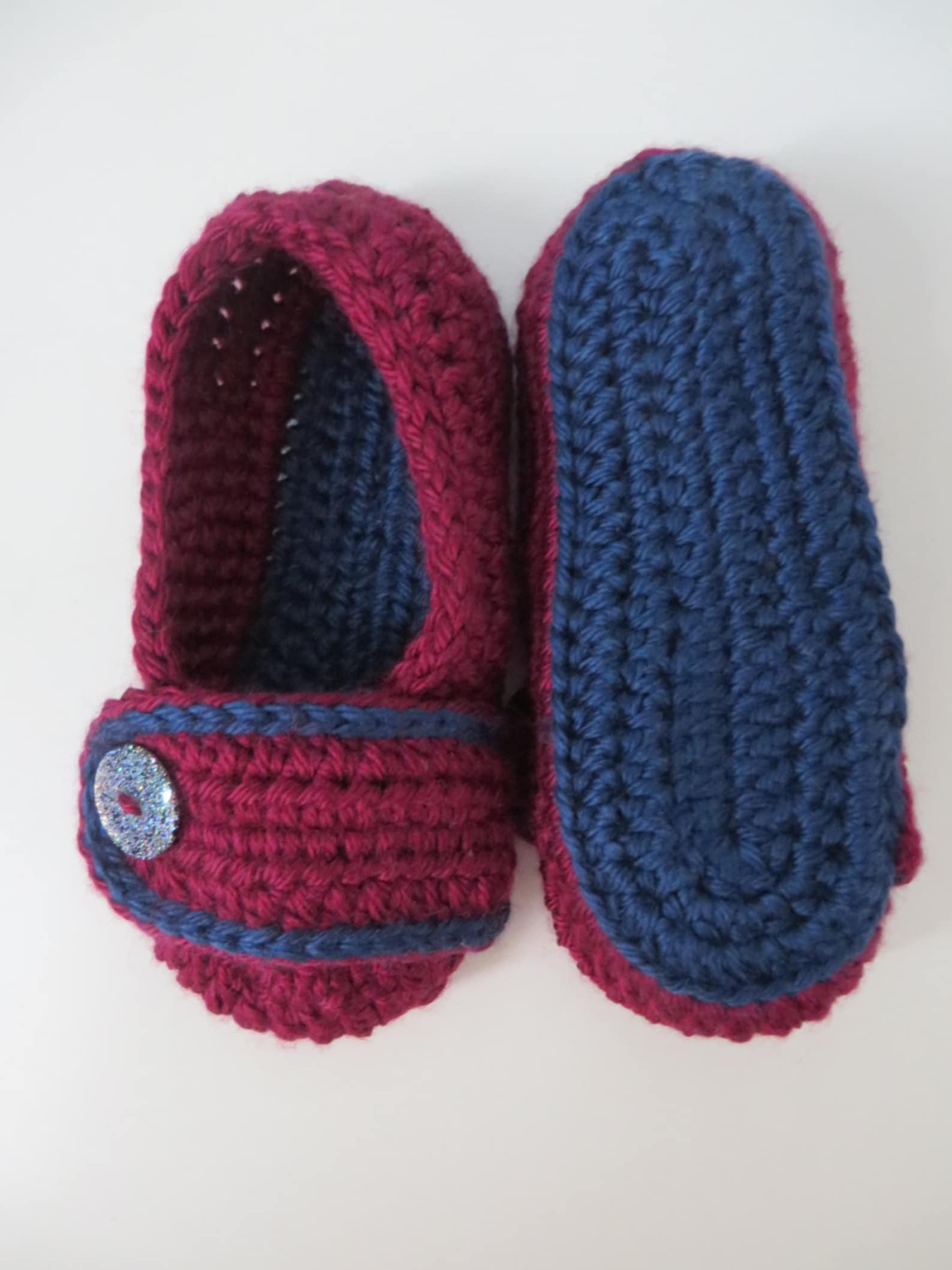 girls crocheted slip on slippers burgundy/navy colours 5.5 inch/14 cm sole ballet style soft slippers 2 years - 3 years preschoo