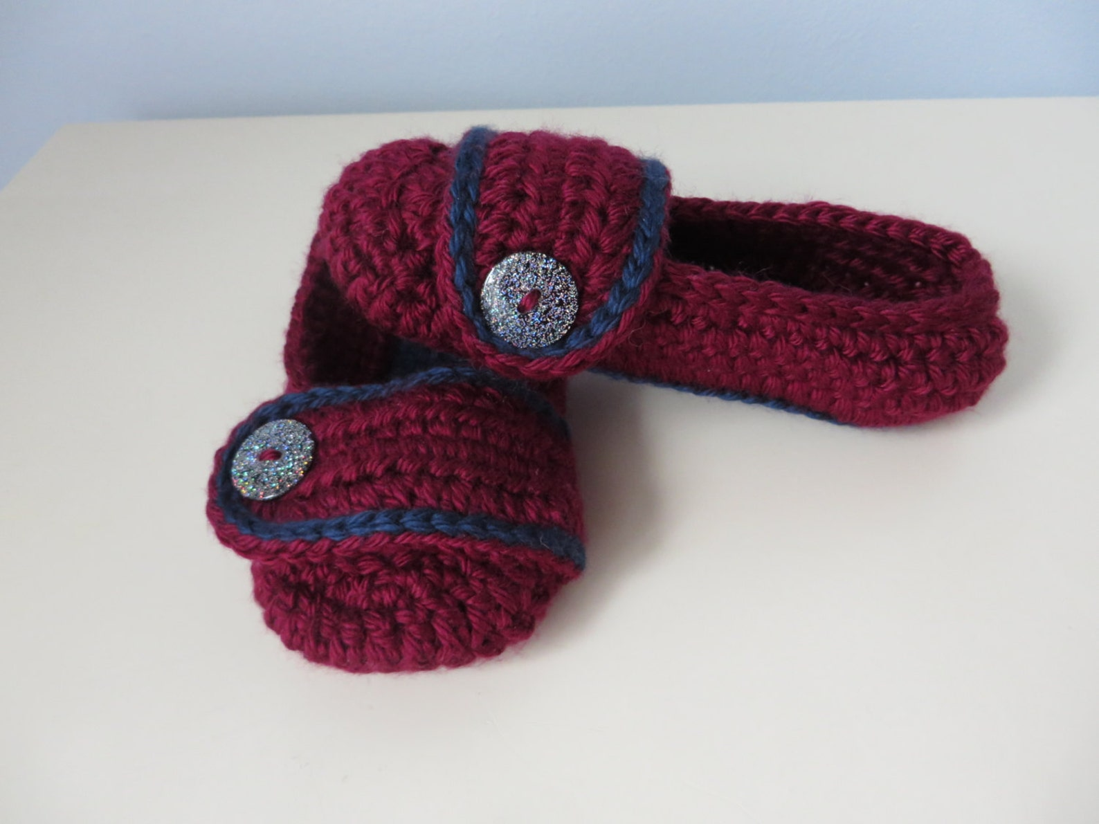 girls crocheted slip on slippers burgundy/navy colours 5.5 inch/14 cm sole ballet style soft slippers 2 years - 3 years preschoo