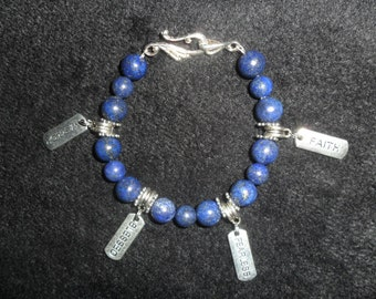 Healing Stones - Semi Precious Lapis Lazuli with 4 Tibetan Silver Charms, Faith, Fearless, Blessed, Warrior