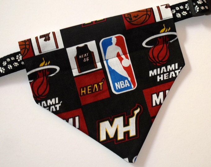 No-Tie, Slip Over Collar Dog Bandana, Miami Heat (Collar Not Included)