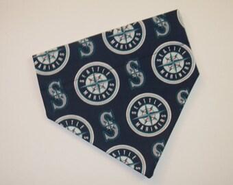 No-Tie, Slip Over Collar Dog Bandana, Seattle Mariners Fabric