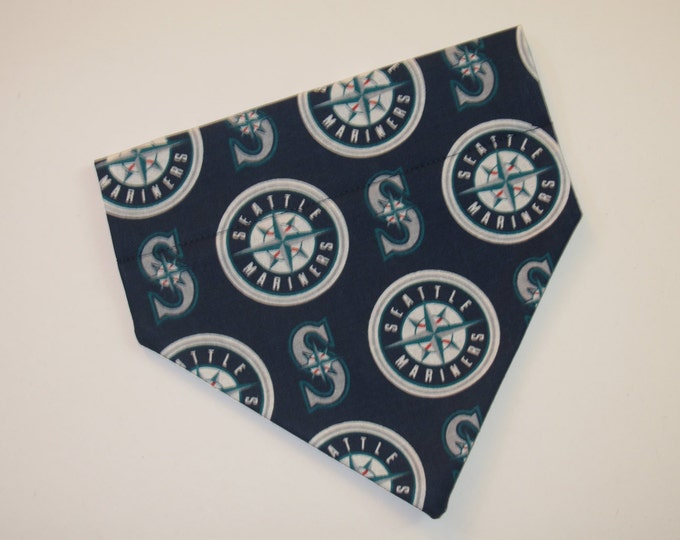 No-Tie, Slip Over Collar Dog Bandana, Seattle Mariners Fabric (collar not included)