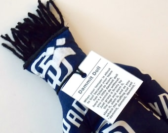 Dammit Doll, San Diego Padres, blue and white fabric, baseball stress relief item