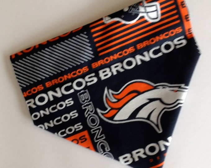 No-Tie, Slip Over Collar Dog Bandana, Denver Broncos Fabric