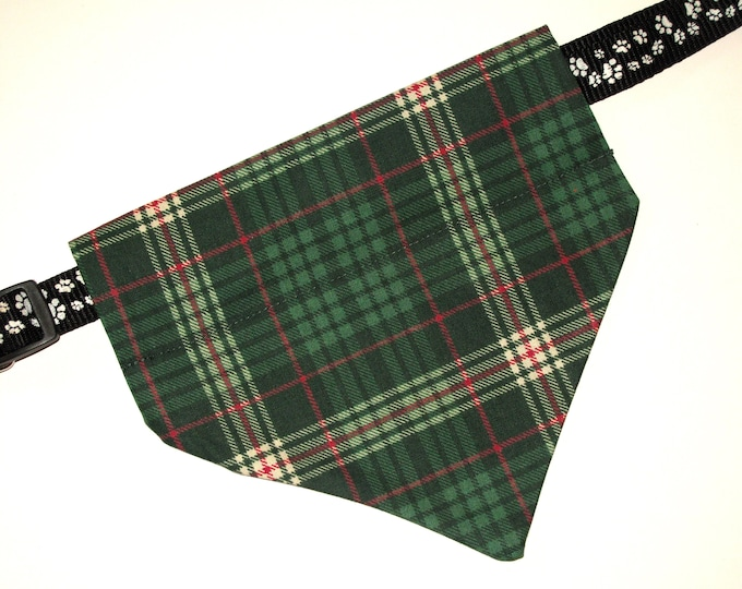 Christmas, No-Tie, Slip Over Collar Dog Bandana, green plaid design design