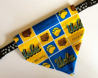 No-Tie, Slip Over Collar Dog Bandana, UCLA Bruins Classic Square Fabric (collar not included)
