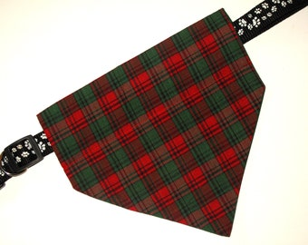 Christmas, No-Tie, Slip Over Collar Dog Bandana, red green plaid (collar not included)