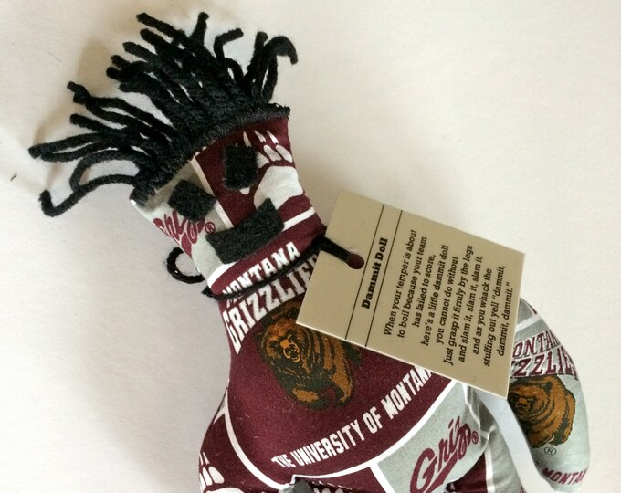 Dammit Doll, University of Montana, Classic Square Design Team Fabric, stress relief item