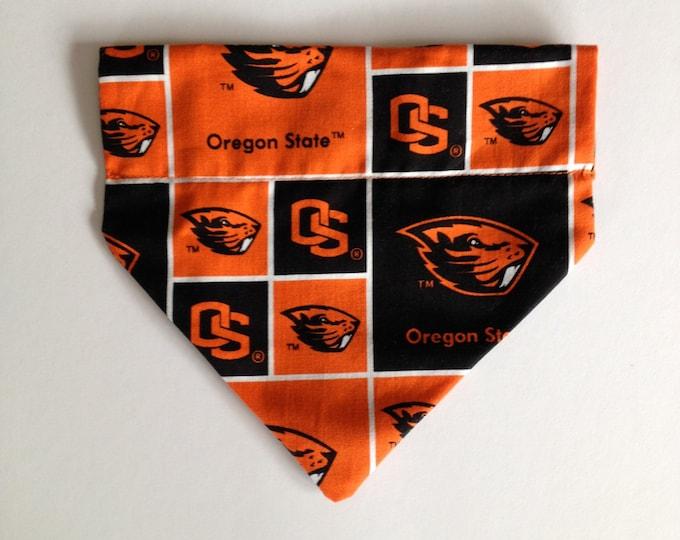 No-Tie, Slip Over Collar Dog Bandana, Oregon State University Classic Beaver Fabric (collar not included)