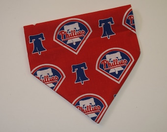 No-Tie, Slip Over Collar Dog Bandana, Philadelphia Phillies Fabric