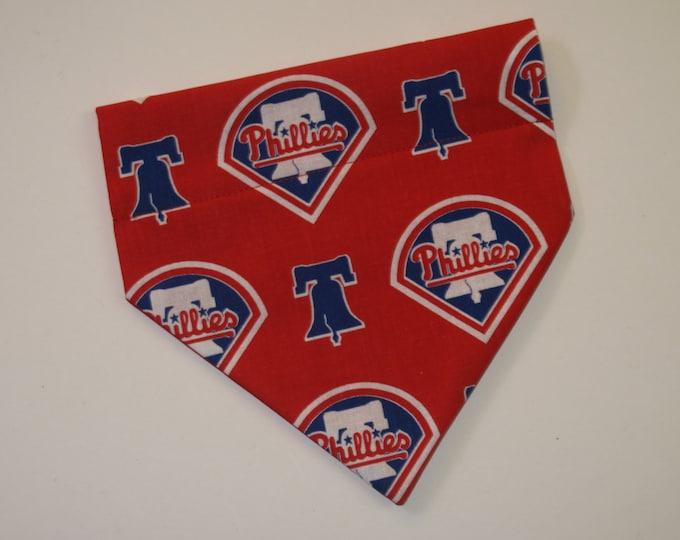 No-Tie, Slip Over Collar Dog Bandana, Philadelphia Phillies Fabric (collar not included)
