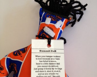 Dammit Doll, Boise State, Classic Square fabric, stress relief item