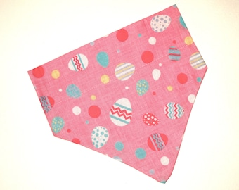 Easter Dog Bandana, No-Tie, Slip Over Collar, Tossed Easter eggs on pink (collar not included)