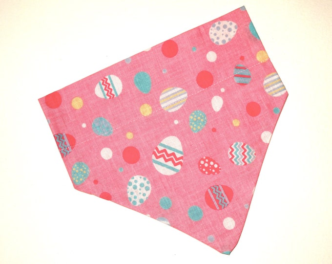 Easter Dog Bandana, No-Tie, Slip Over Collar, Tossed Easter eggs on pink