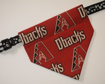 No-Tie, Slip Over Collar Dog Bandana, Arizona Diamondbacks Fabric (collar not included)