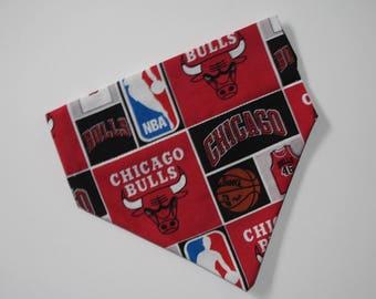 No-Tie, Slip Over Collar Dog Bandana, Chicago Bulls (Collar Not Included)