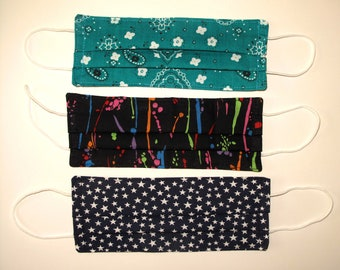 Fabric Face Covering with elastic ear loops, washable, reusable