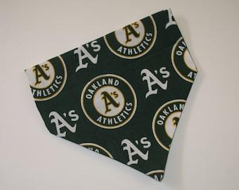 No-Tie, Slip Over Collar Dog Bandana, Oakland Athletics Fabric (collar not included)