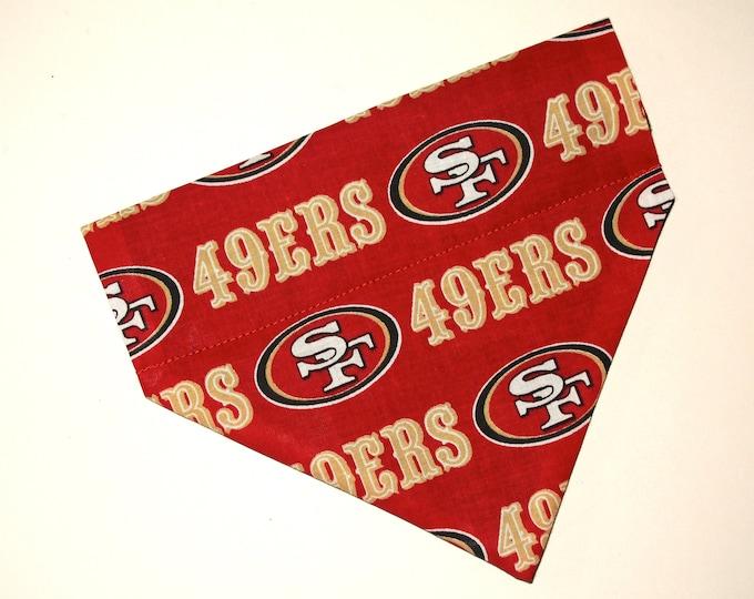 No-Tie, Slip Over Collar Dog Bandana, San Francisco 49ers (collar not included)