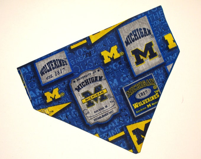 No-Tie, Slip Over Collar Dog Bandana, University of Michigan, Team Fabric