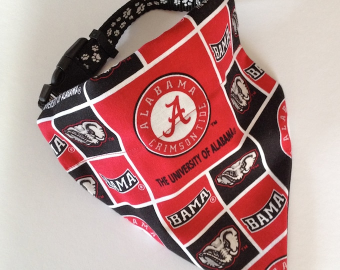 No-Tie, Slip Over Collar Dog Bandana, University of Alabama Classic Square Team Fabric
