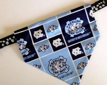 University of North Carolina, No-Tie, Slip Over Collar Dog Bandana, Univ. N. Carolina Fabric (collar not included)