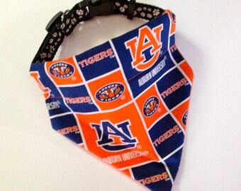 No-Tie, Slip Over Collar Dog Bandana, Auburn University Classic Square Fabric
