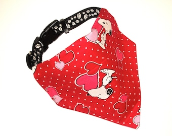 Red Snoopy Dog Bandana, No-Tie, Slip Over Collar, Tossed Snoopy heart fabric (collar not included)