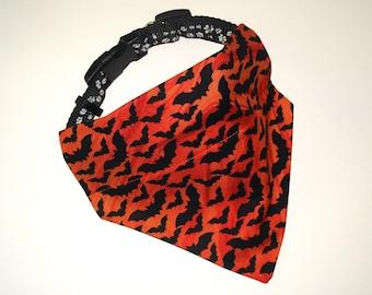 Halloween Pet Bandana, No-Tie, Slip Over Collar Dog Bandana, Black Bat on Orange (Collar not included)