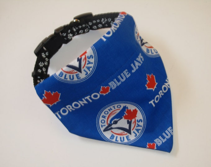 No-Tie, Slip Over Collar Dog Bandana, Toronto Blue Jays Fabric (collar not included)