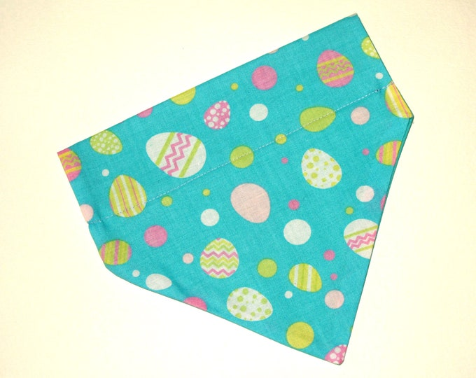 Easter Dog Bandana, No-Tie, Slip Over Collar, Tossed Easter eggs on light blue (collar not included)