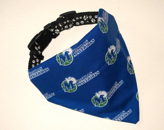 No-Tie, Slip Over Collar Dog Bandana, Dallas Mavericks Basketball (Collar Not Included)