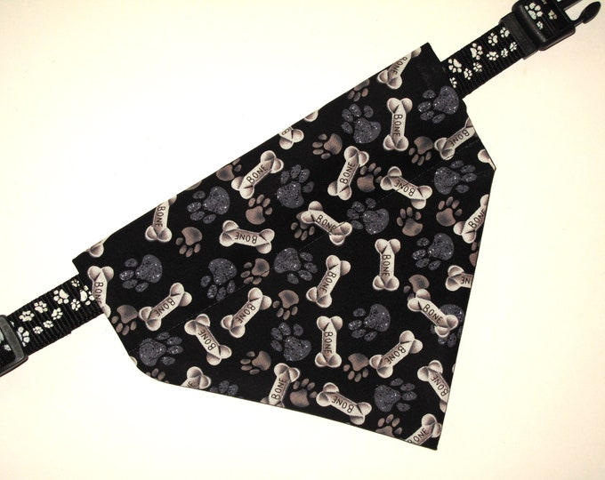 No tie, Slip Over Collar Dog Bandana, Bones and Paw Prints on Black (collar not included)