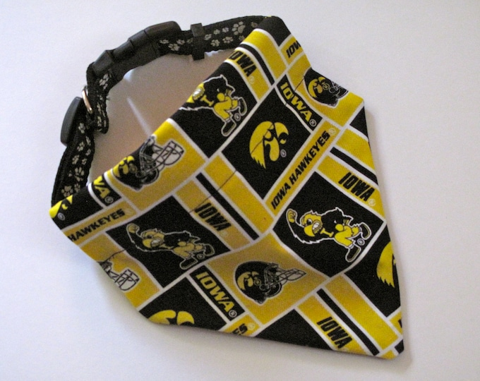 No-Tie, Slip Over Collar Dog Bandana, University of Iowa Hawkeyes Fabric