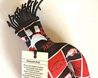 Dammit Doll, University of Arkansas Razorbacks, Classic Square Design Team Fabric, stress relief item