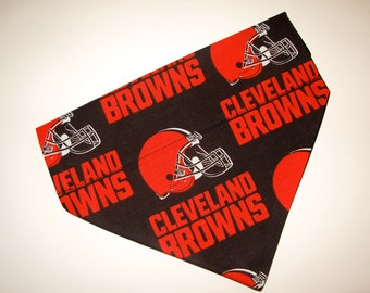No-Tie, Slip Over Collar Dog Bandana, Cleveland Browns Fabric (collar not included)