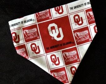 No-Tie, Slip Over Collar Dog Bandana, The University of Oklahoma Sooners Classic Square Fabric