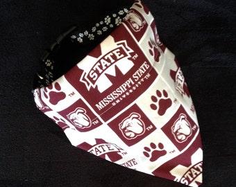 No-Tie, Slip Over Collar Dog Bandana, Mississippi State University Bulldogs Classic Square Team Fabric