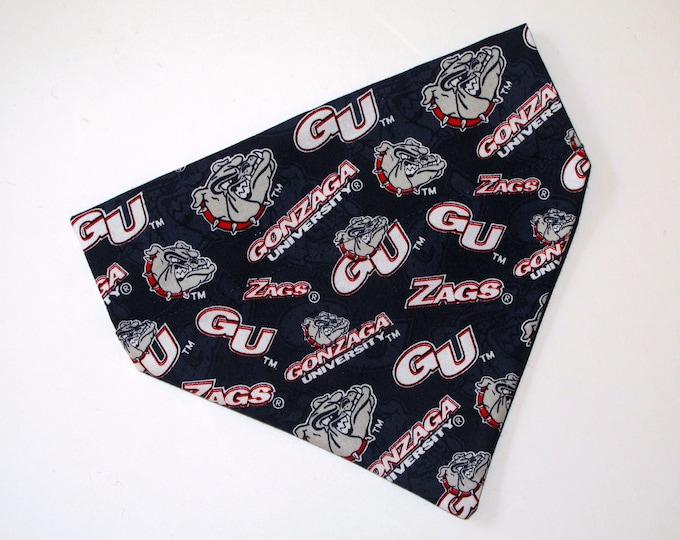 No-Tie, Slip Over Collar Dog Bandana, Gonzaga University, Team Fabric (collar not included)